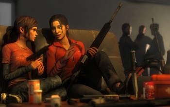 Zoey,The last of us,crossover,атомат,Left 4 dead,Ellie,пистолет
