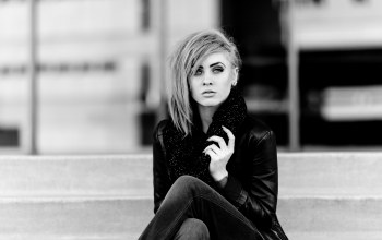 female,stairs,woman,Jeans,sitting,black and white,girl,leather jacket