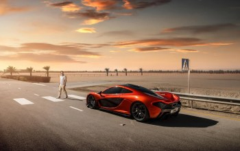 Mclaren,orange,crosswalk,supercar,rear,Road