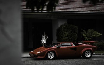 Lamborghini,Red,house,countach,girl