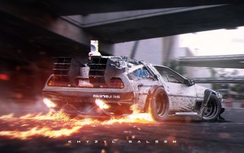 back to the future,rear,photoshop,dmc-12,delorean,digital art,fire,Road,silvery