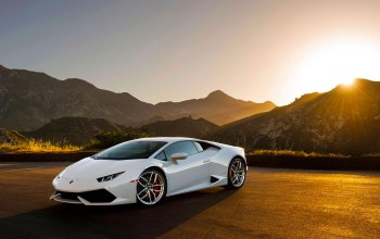 supercar,White,lp640-4,Lamborghini,moutian,Sunset