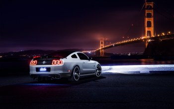 car,rear,nigth,White,bridge,Muscle,Collection