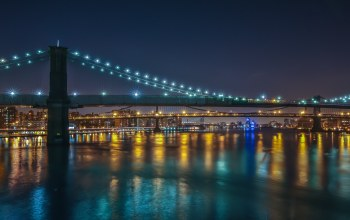 ночь,new york city,manhattan,brooklyn, город,williamsburg bridges