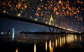 bridge,river,lights,reflection,ночь