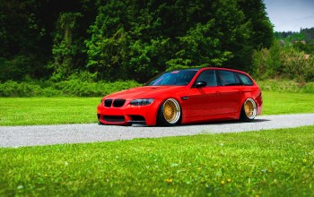 Bmw,Color,M3,stance,grass,e91,Red,low