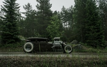 v6,chevrolet,сбоку,обочина,Мокрая,rat rod,chevy,540ci
