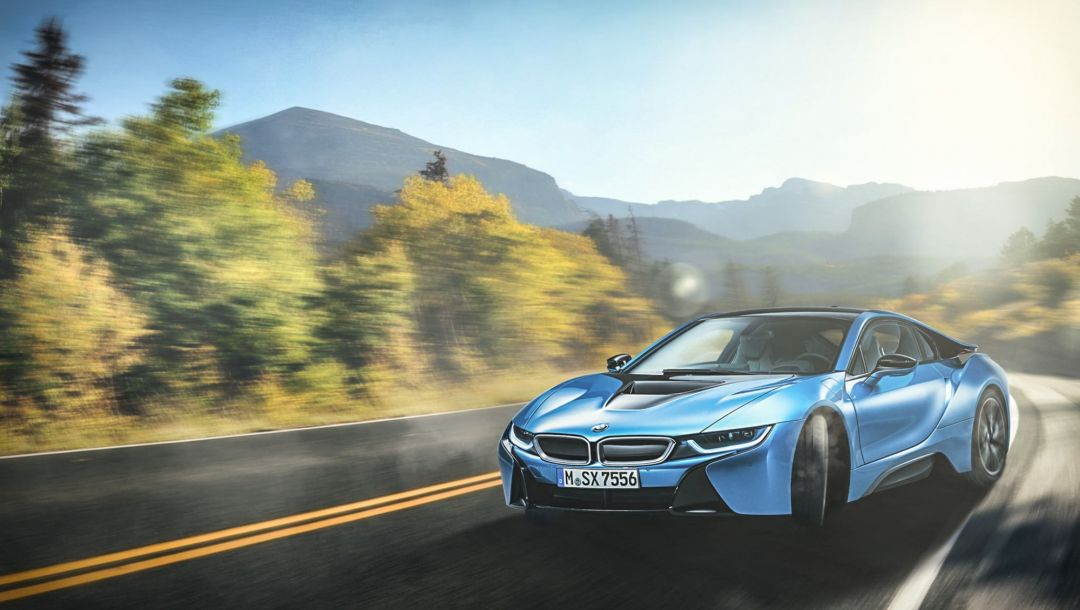 skid,Bmw,serpentine,blue,mountain,sport,beam,car,Road,i8