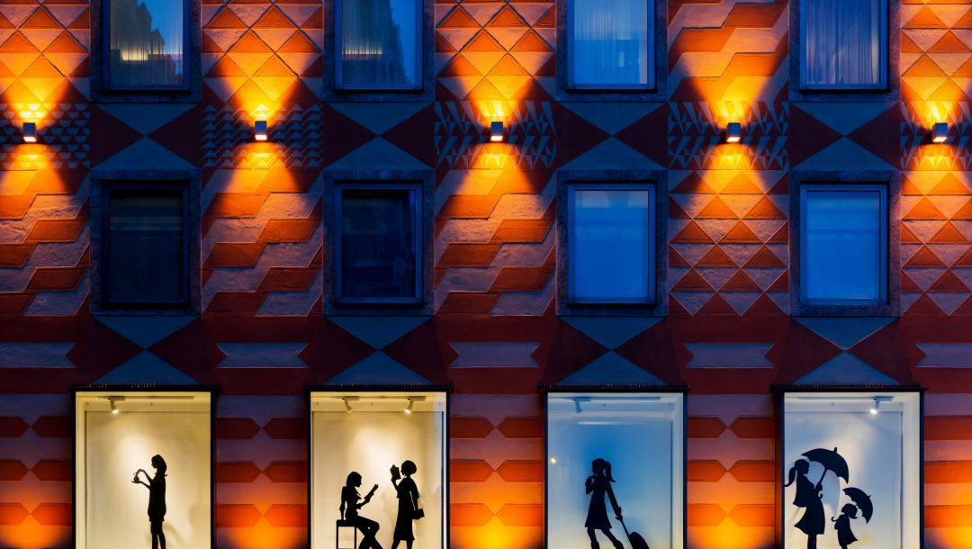 ночь,Style of the city,silhouettes,windows