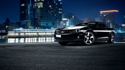 car,chevrolet,black,Front,Muscle,city,scape,nigth,camaro,ss