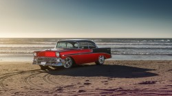 bel air,Sun,car,1956,summer,chevrolet,Front,sea,old,water