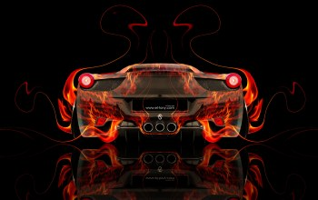 back,hd wallpapers,car,colors,fire,Tony kokhan,orange,italia,Abstract,458