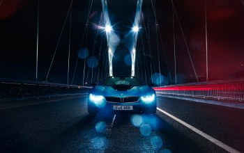 i8,rain,sport,Bmw,bridge,blue,Color,car
