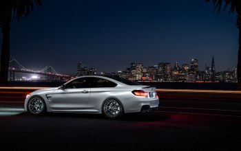 Collection,car,f82,White,Bmw,ligth,bridge,nigth,rear