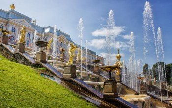 saint-petersburg,architecture,Fountains,peterhof,russia,summer,cascade,landscape,palace