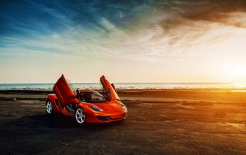 doors,beauty,Mclaren,mp4-12c,orange,supercar,Sunset,sky,clound
