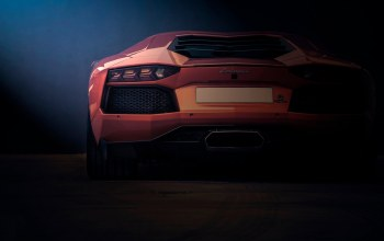 orange,Lamborghini,rear