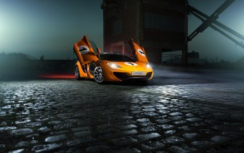 nigth,supercar,Color,ligth,Mclaren,mp4-12c,beam,orange
