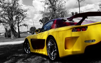 Mazda,yellow,rx-7,trees,back,veilside