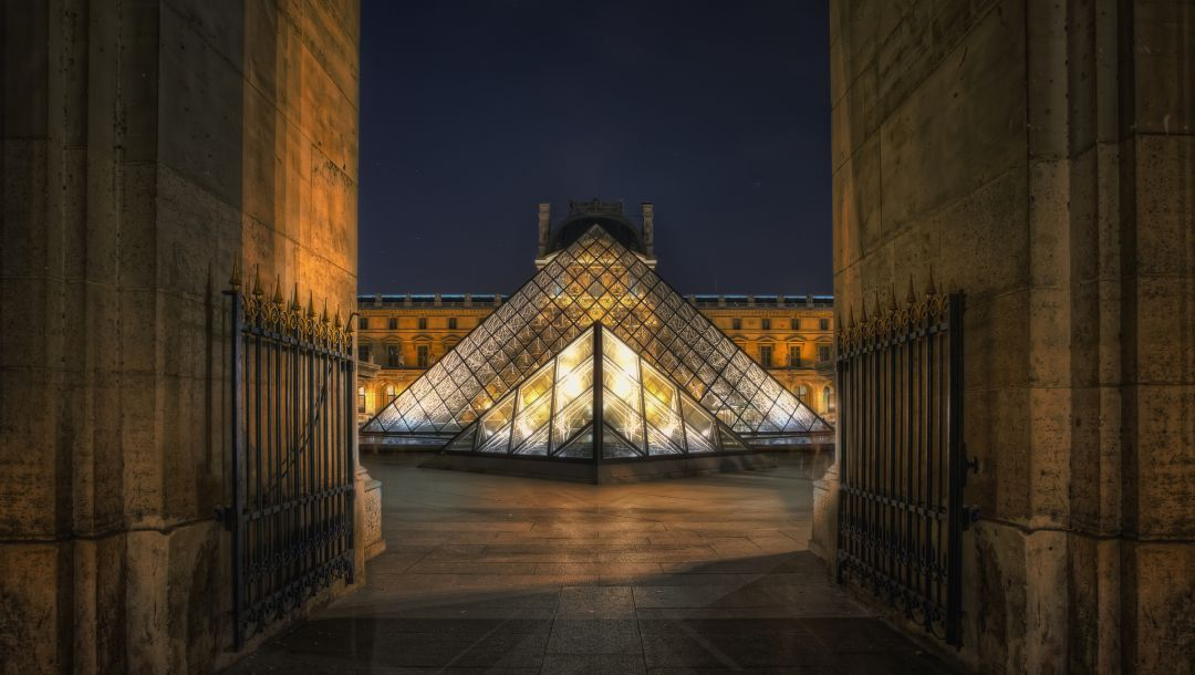 museum,paris,ночь,Лувр,pyramid,france,louvre