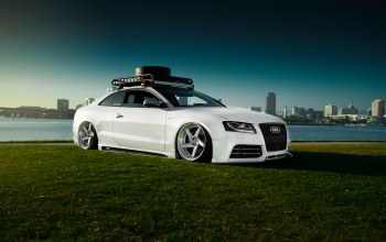 White,rs5,low,sky,car,stancenation,grass