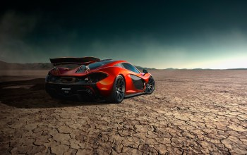 desert,rear,Mclaren,Road,storm,orange,supercar