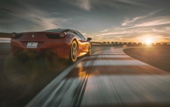 458,supercar,Track,dream,italia,Red,sky,racing,rear