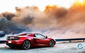 sky,Red,Mclaren,mp4-12c,supercar,british,back,clouds,Road