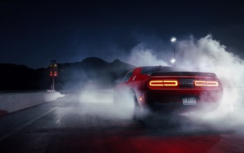 Muscle,hellcat,dodge,car,Red,rear,smoke,challenger