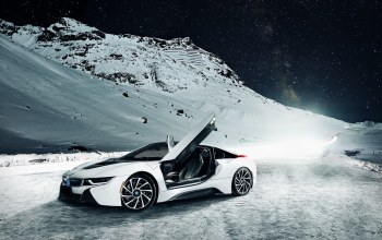i8,sky,nigth,snow,Bmw,ligth,White,mountain