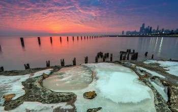 sunrise,beach,chicago,ice,Fullerton,water