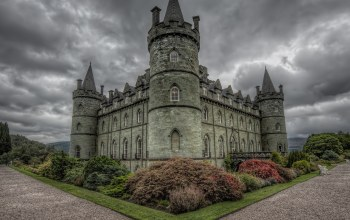 замок инверари,Шотландия,кусты,Inveraray castle,scotland