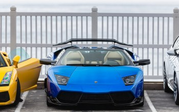 Lamborghini,Bmw,blue,roadster,yellow