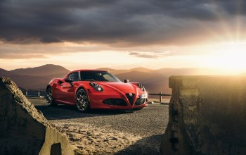 Red,launch edition,sport,car,4c,2015,Alfa-romeo,Sunset