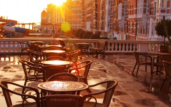 tables,sunlight,кафе,early morning,chairs,street cafe,terrace,cafe,old fashioned