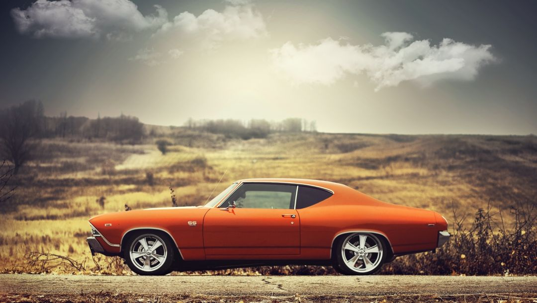 sideview,chevrolet,orange,clouds,1969,chevelle