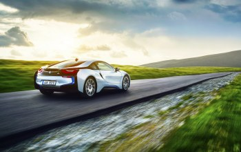 White,Exotic,i8,grass,Bmw,rear,motion,Speed