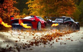 Mclaren,exhaust,fire,Red,supercars,fxx k,foliage