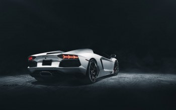 rear,supercar,dark,Lamborghini,roadster,White,studio