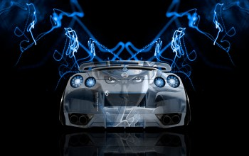 blue,jdm,r35,el tony cars,aerography,effects,back,Tony kokhan