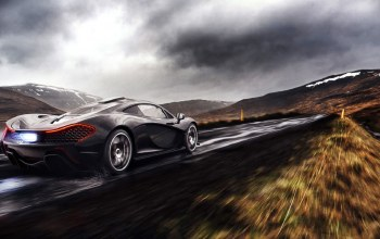 exhaust,clouds,supercar,rain,rear,Mclaren,fire,Road