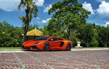 Exotic,vorsteiner,Lamborghini,orange,zaragoza,aventador-v,supercar,brightly,lp740-4