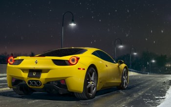 rear,458,Road,supercar,nigth,yellow,ligth,italia,snow
