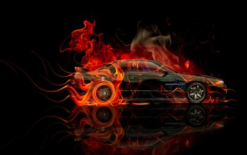 side,fire,el tony cars,skyline,photoshop,orange,jdm,Tony kokhan