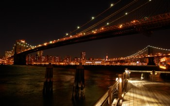 bridges,lights,photo,view,bridge,new york