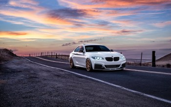 Road,mountains,White,garde,car,san jose,Bmw,wheels,Sunset,m235i,sunrise