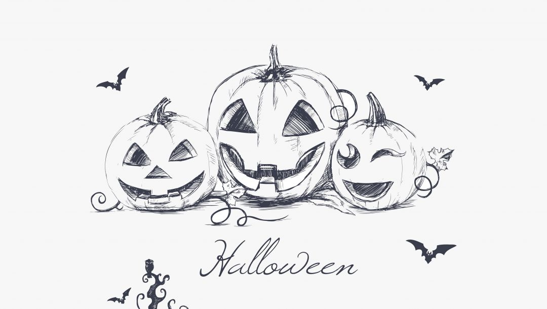 Halloween,creepy owl,minimalism,evil pumpkins,hand drawing,bats