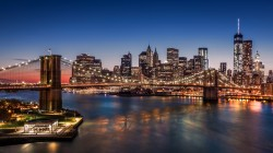 manhattan,usa,new york,city,skyscrapers,Brooklyn bridge,night,harbour,lights