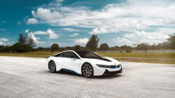 Front,sky,clouds,car,matte,Bmw,i8,White