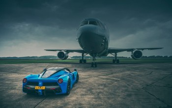 runway,supercar,blue,rear